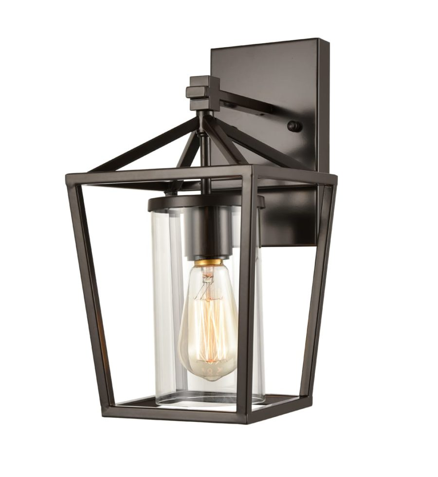 Industrial Bronze Metal Lantern Wall Sconce Glass Shade