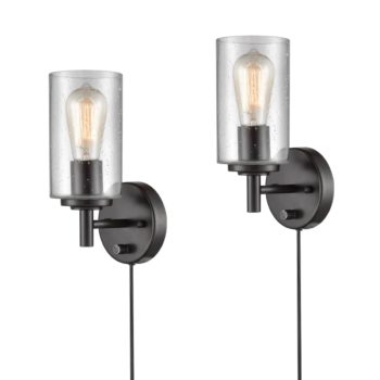 Industrial Bronze Wall Sconces Set of Two Bubble Glass Shade
