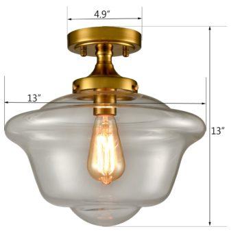 Industrial Clear Glass Ceiling Light 1-Light Semi Flush Mount