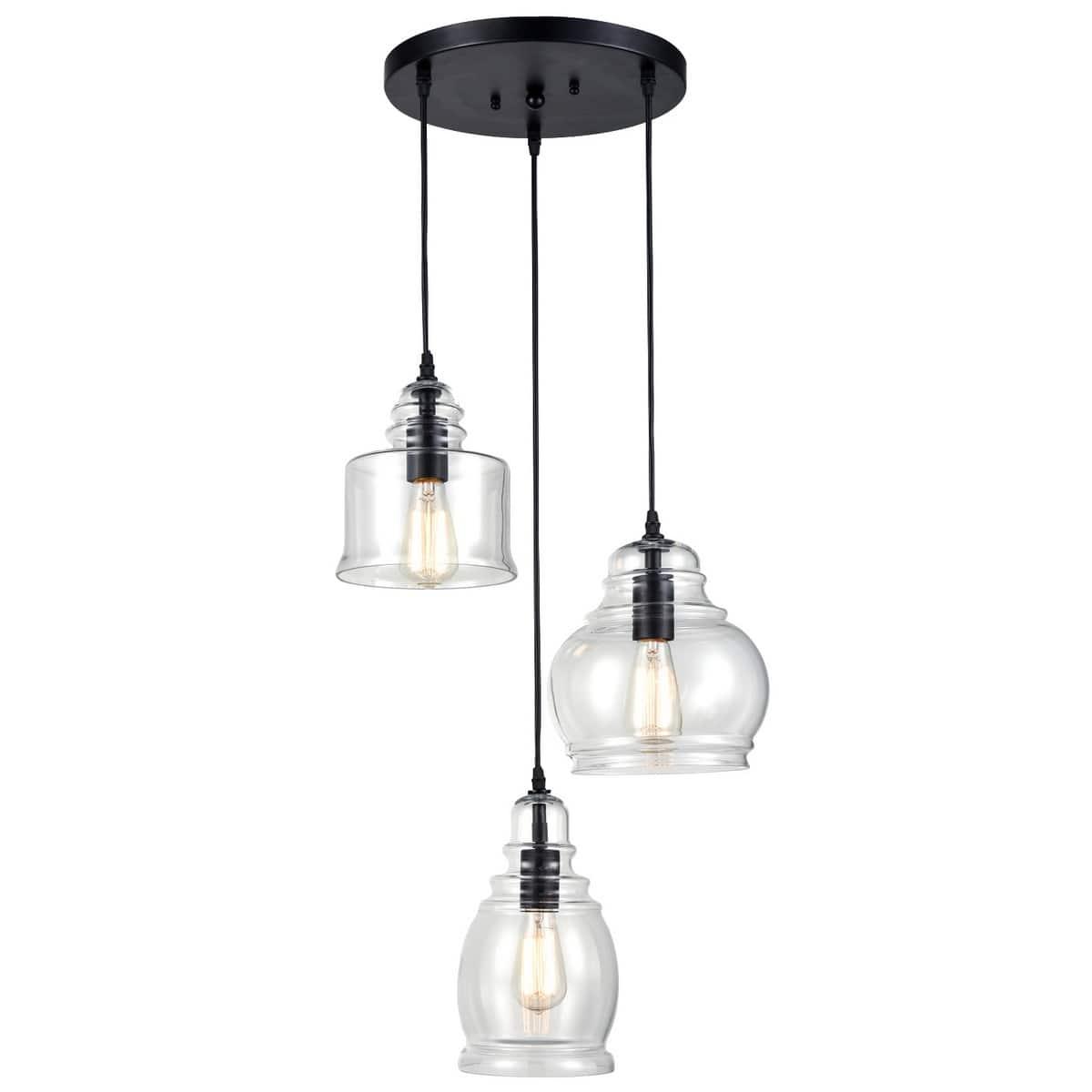Modern Industrial Chandelier Mason Jar Island 3-Light Fixture