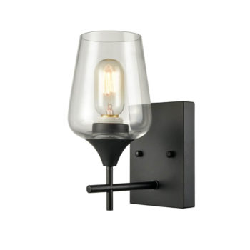 Industrial Clear Glass Wall Sconces Matte Black Bathroom Wall Lights
