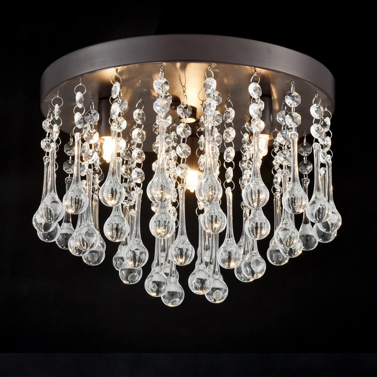 Vintage Bronze Crystal Ceiling Light 3-Light Fixture