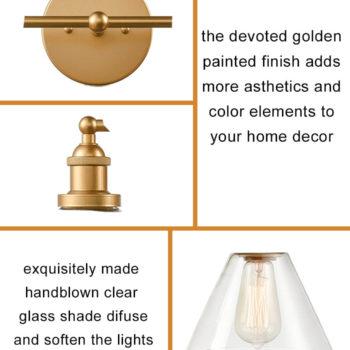 Modern Brass Wall Sconce 2 Light Glass Bath Vanity Light