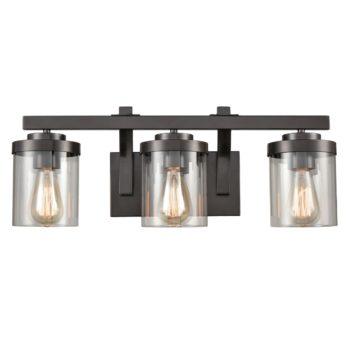 Industrial Glass Bathroom Vanity Light Bronze Sconce 3-Light