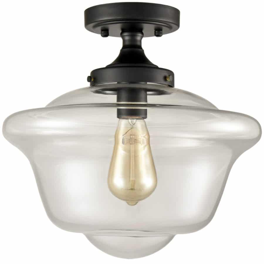 Industrial Glass Ceiling Light Clear Glass Shade Semi Flush Mount