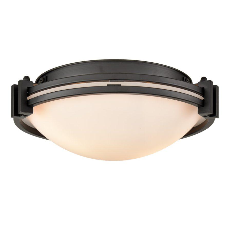 Industrial Glass Ceiling Light Flush Mount Fixture 2-Light