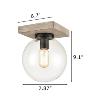 Distressed Wooden Ceiling Light Clear Glass Globe Fixture