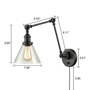 Black Swing Arm Plug-in Wall Light with Bell Clear Glass Shade