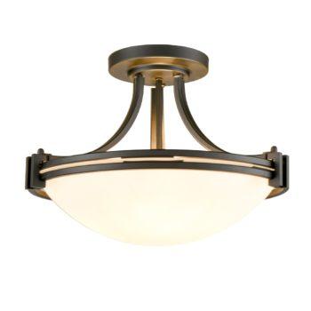 Industrial Glass Semi Flush Mount Ceiling Light Fixture 3-Light