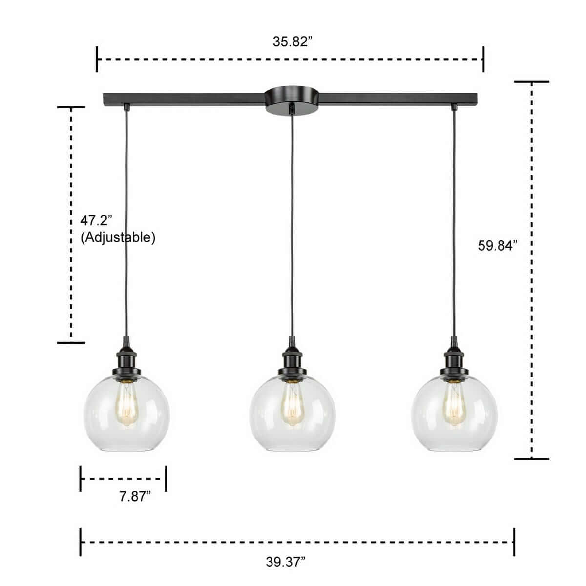 Industrial Globe Glass Island Pendant Light 3-Light Bronze Finish