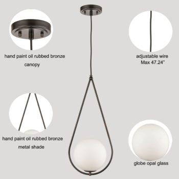 Bronze Industrial Pendant Light Fixtures Opal Glass Shade