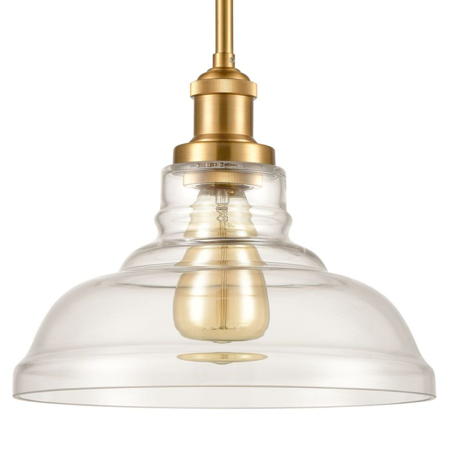 Industrial Brass Island Pendant Light with Clear Barn Glass Shade