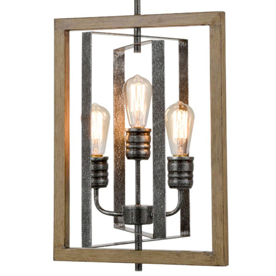 Industrial Kitchen Island Pendant Light 3-Light in Wood Grain Finish