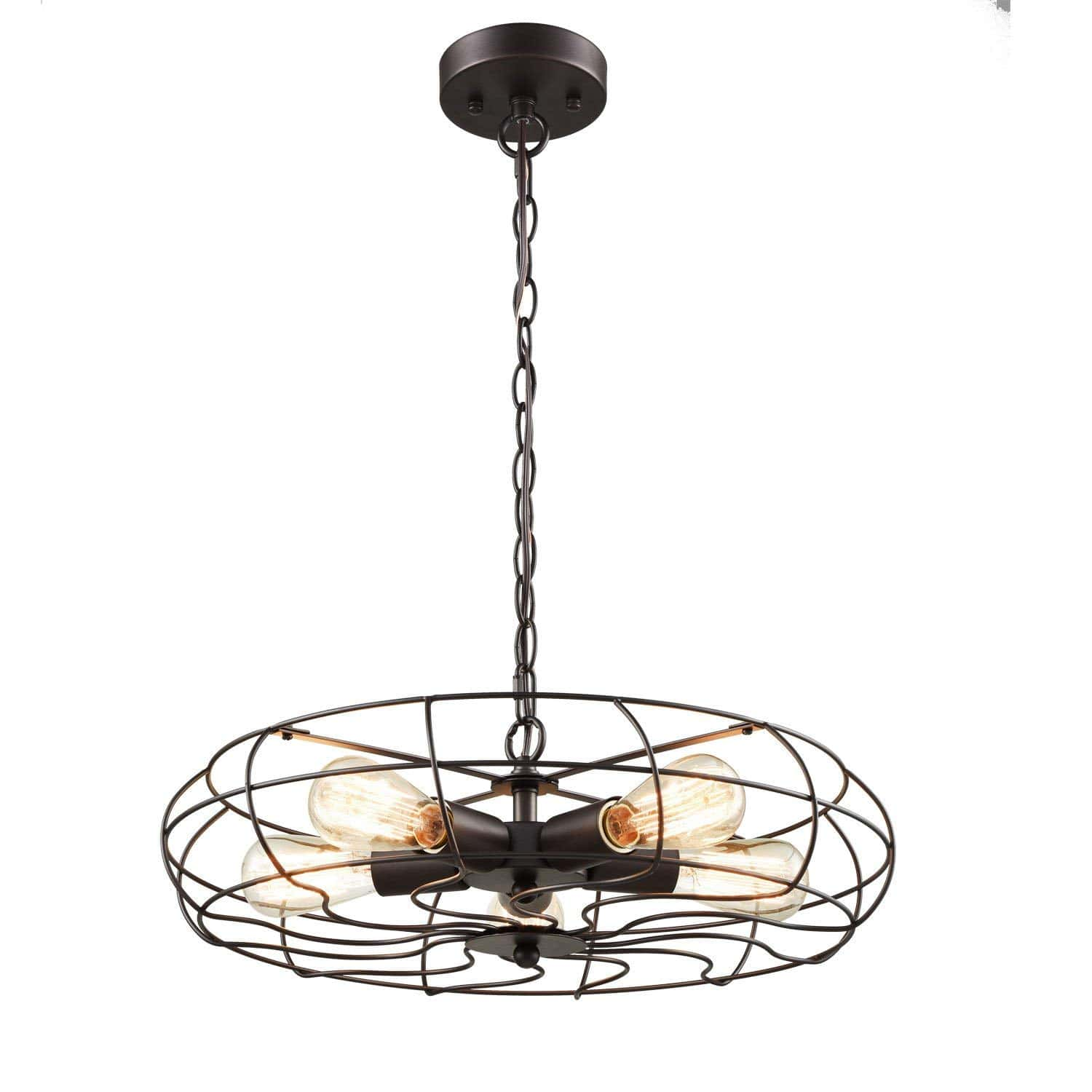 Industrial Metal Cage Hanging Pendant Chandelier with Chain, 5 Lights