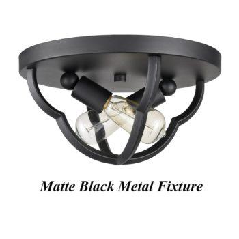 Industrial Matte Black Flush Mount Ceiling Light Metal Cage Dome Shape