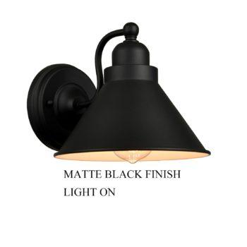 Industrial Matte Black Simplicity 1 Light Metal Wall Sconce