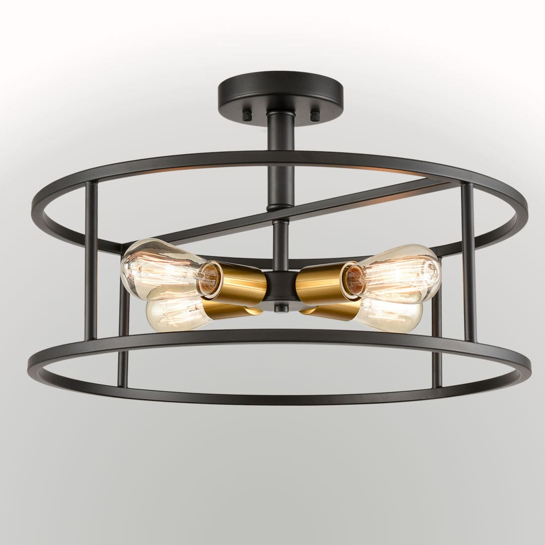 Industrial Black Metal Drum Cage Semi Flush Ceiling Light