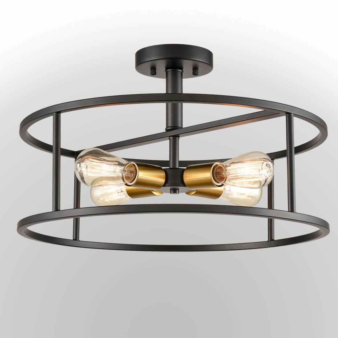 Industrial Black Metal Drum Cage Semi Flush Ceiling Light