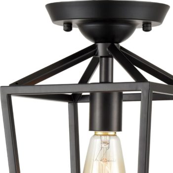 Industrial Metal Cage Semi Flush Mount Ceiling Light Matte Black