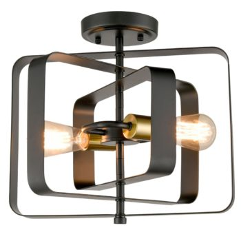 Industrial Metal Ceiling Light 2-Light Black Rectangular Shade
