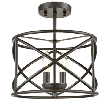 Industrial Metal Drum Semi Flush Mount Ceiling Light