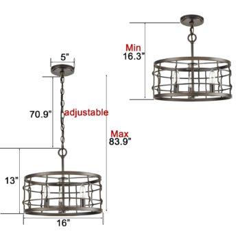 Industrial Metal Drum Pendant Chandelier Light Dining Room Hanging Light