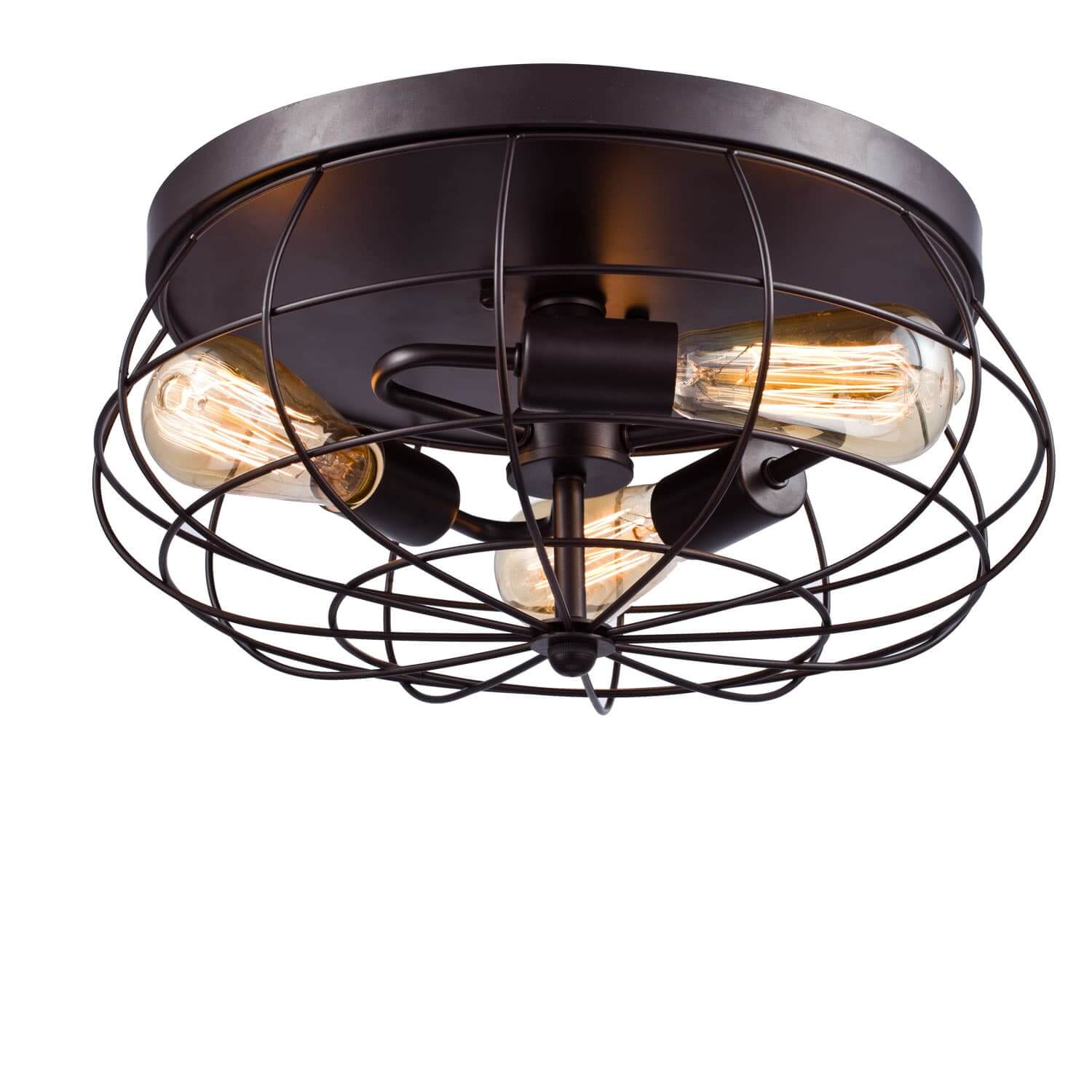 Industrial Metal Cage Flush Mount Ceiling Light Round Shape