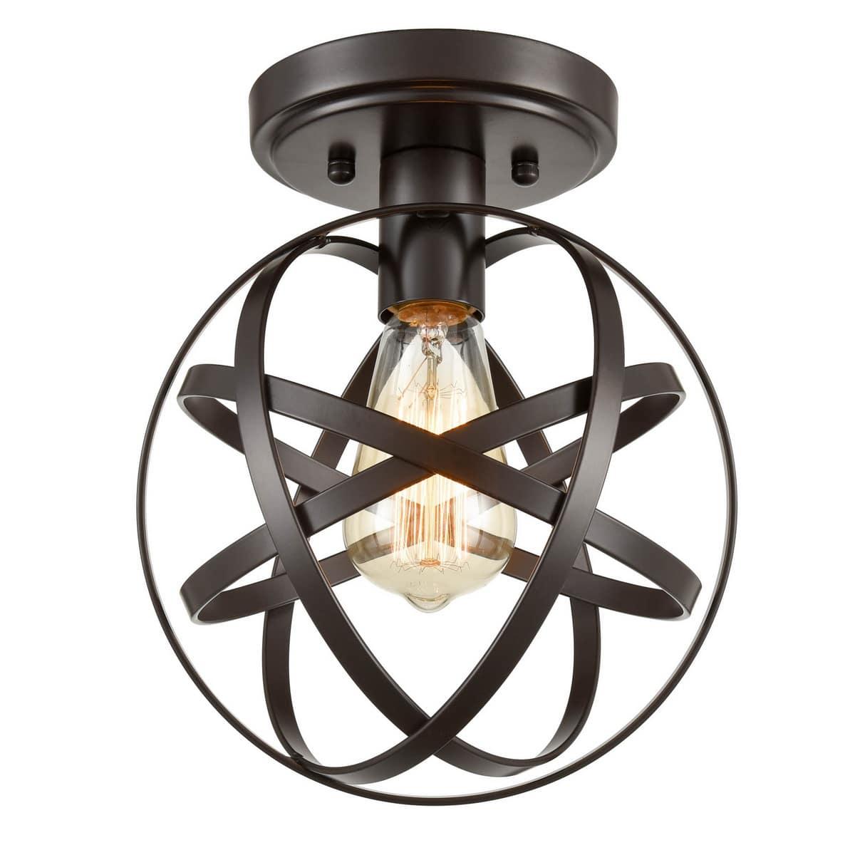 Industrial Bronze Mini Ceiling Light Metal Globe Hallway Fixture