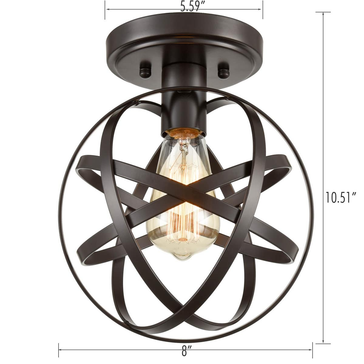 Industrial Bronze Mini Ceiling Light Metal Globe Hallway Fixture