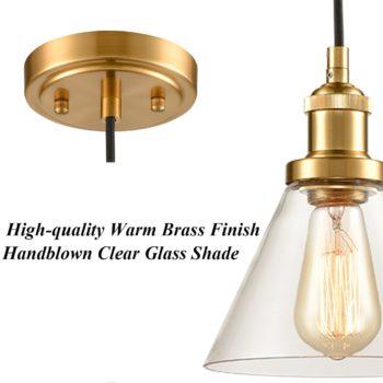 Industrial Mini Glass Pendant Lights Brass Finish Cone Shape