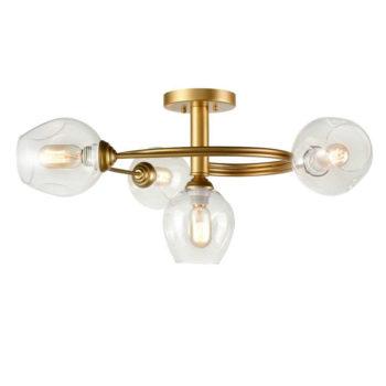Modern Brass Semi-flush Mount Ceiling Lights Glass Shade