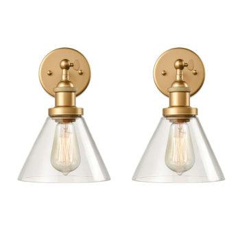 Modern Brass Plug in Wall Lights Swing Arm 2 Pack Fixture