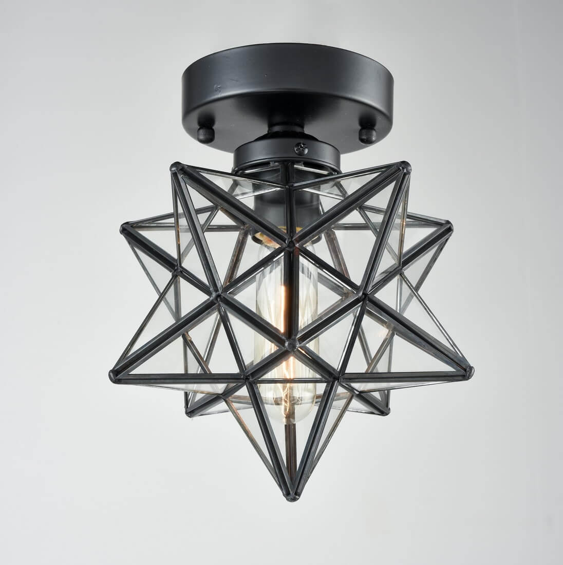 Industrial Moravian Star Ceiling Light with Clear Glass 8 Inches