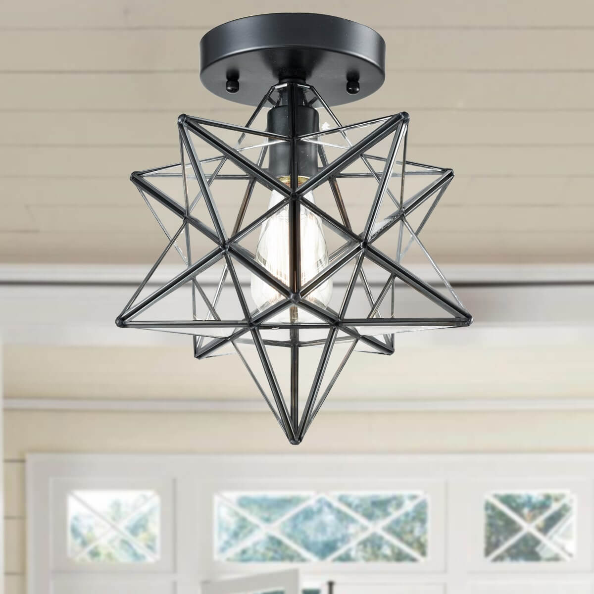 Industrial Moravian Star Ceiling Light with Clear Glass 12 Inches