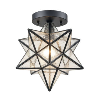Industrial Moravian Star Ceiling Light with Seeded Glass 12 inches