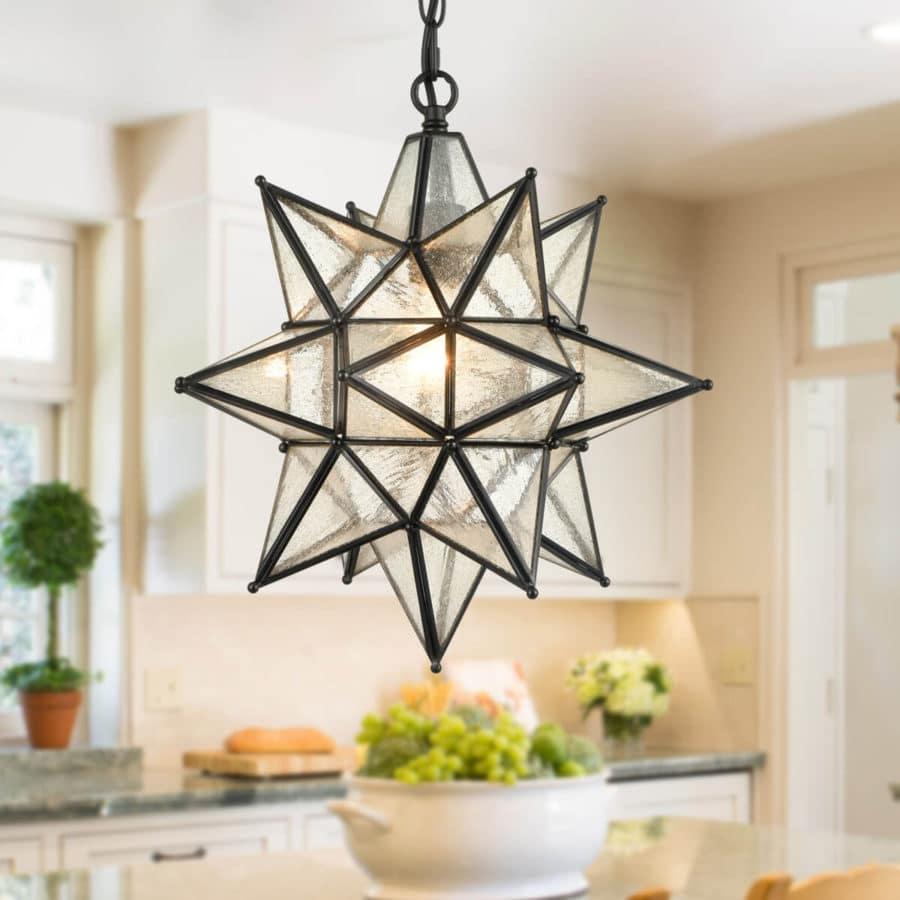 Moravian Star Pendant Chandelier Seeded Glass Black Light 15 Inches