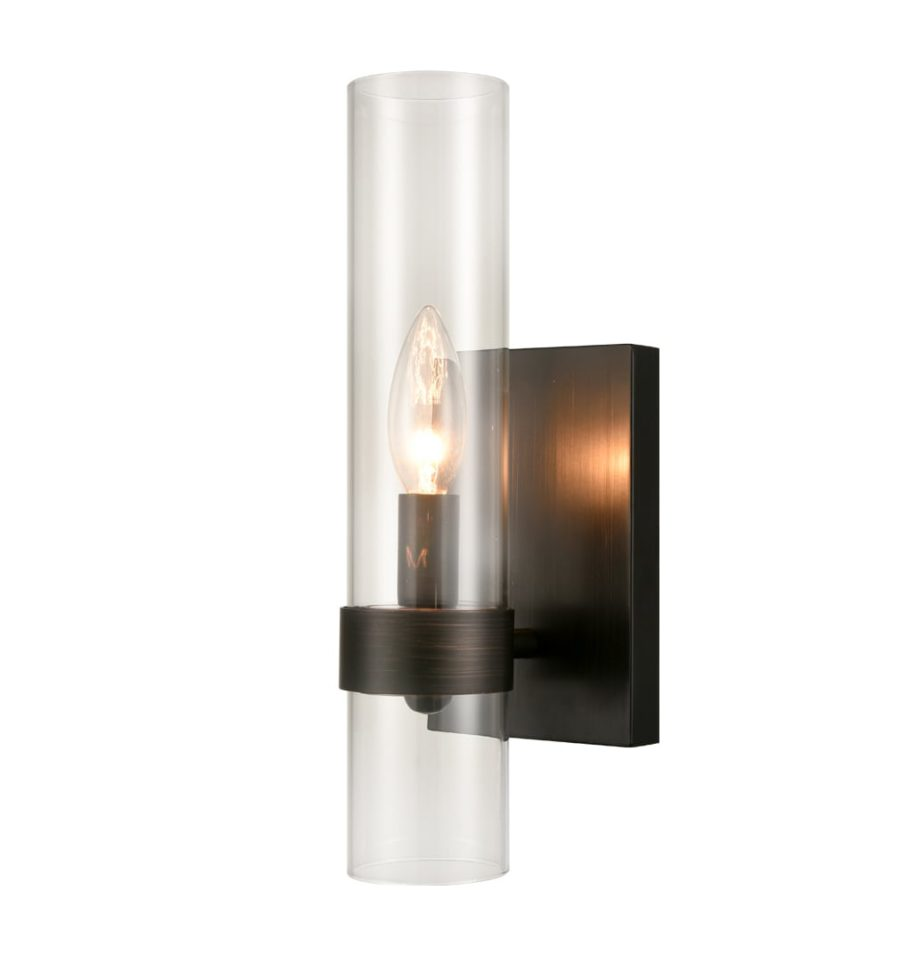 Industrial Bronze Wall Sconce Glass Cylinder Shade Fixture