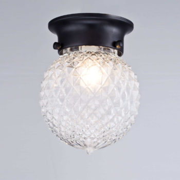Industrial Bronze Flush Mount Ceiling Light Pineapple Glass Shade