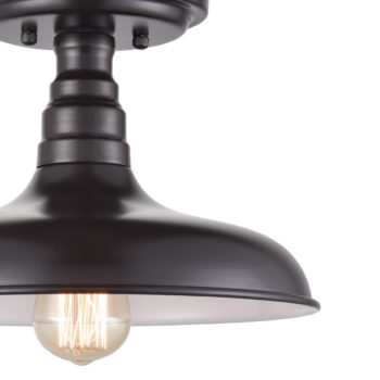Industrial Bronze Semi Flush Ceiling Light Metal Barn Shade Fixture