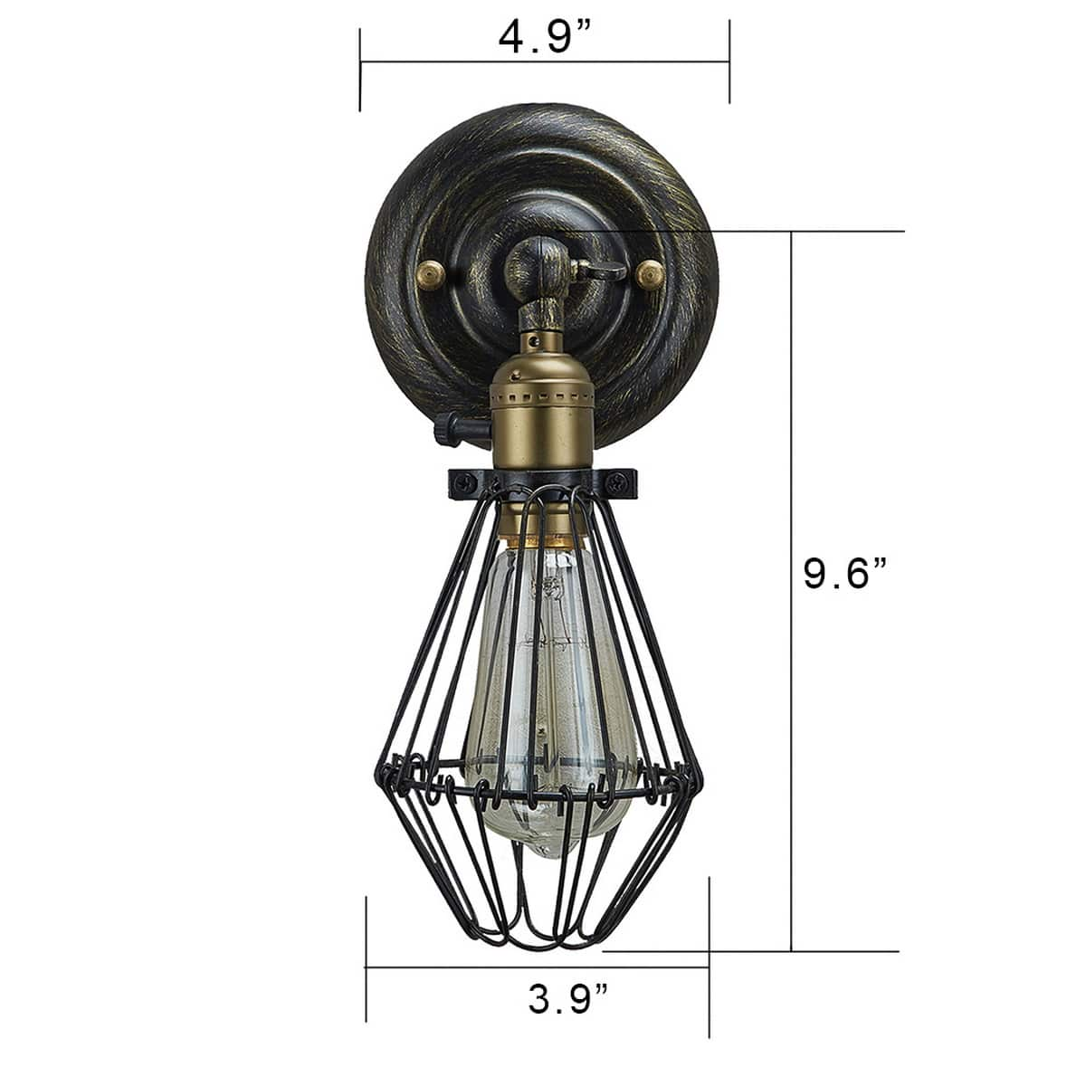 Industrial mini Wire Cage Wall Sconce Swing Arm Lamp