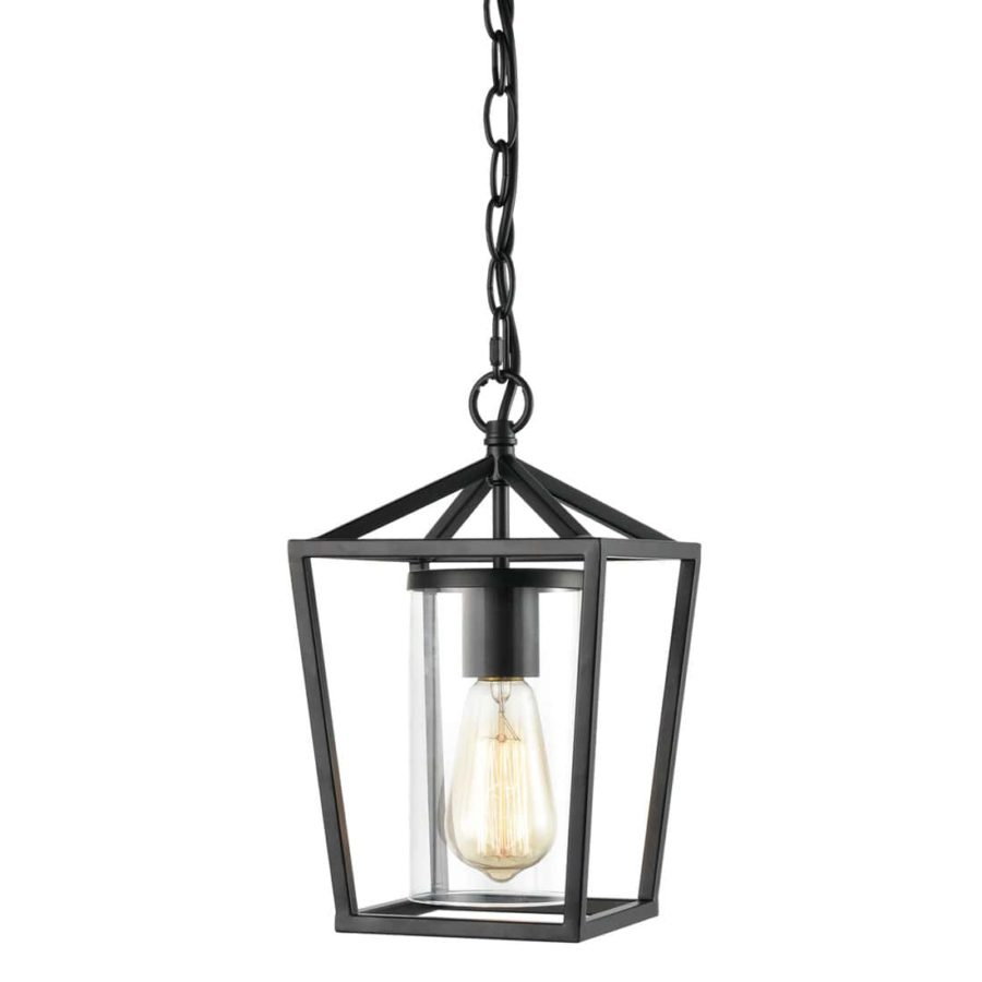 Industrial Pendant Light Black Finish w/Clear Glass Adjustable Chain