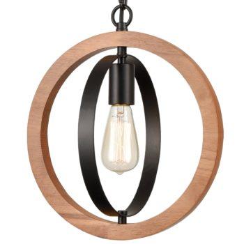 Industrial Pendant Light Walnut Wood Frame Elegant Farmhouse Light
