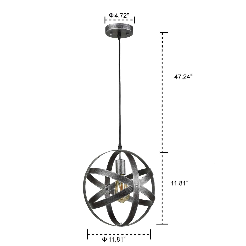 Industrial Globe Pendant Light Antique Silver Kitchen island Lights
