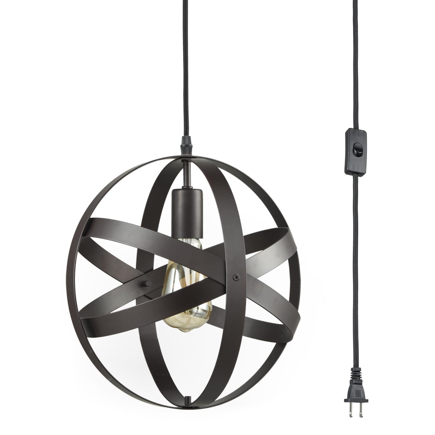 Industrial Bronze Plug in Pendant Light with Metal Globe Shade