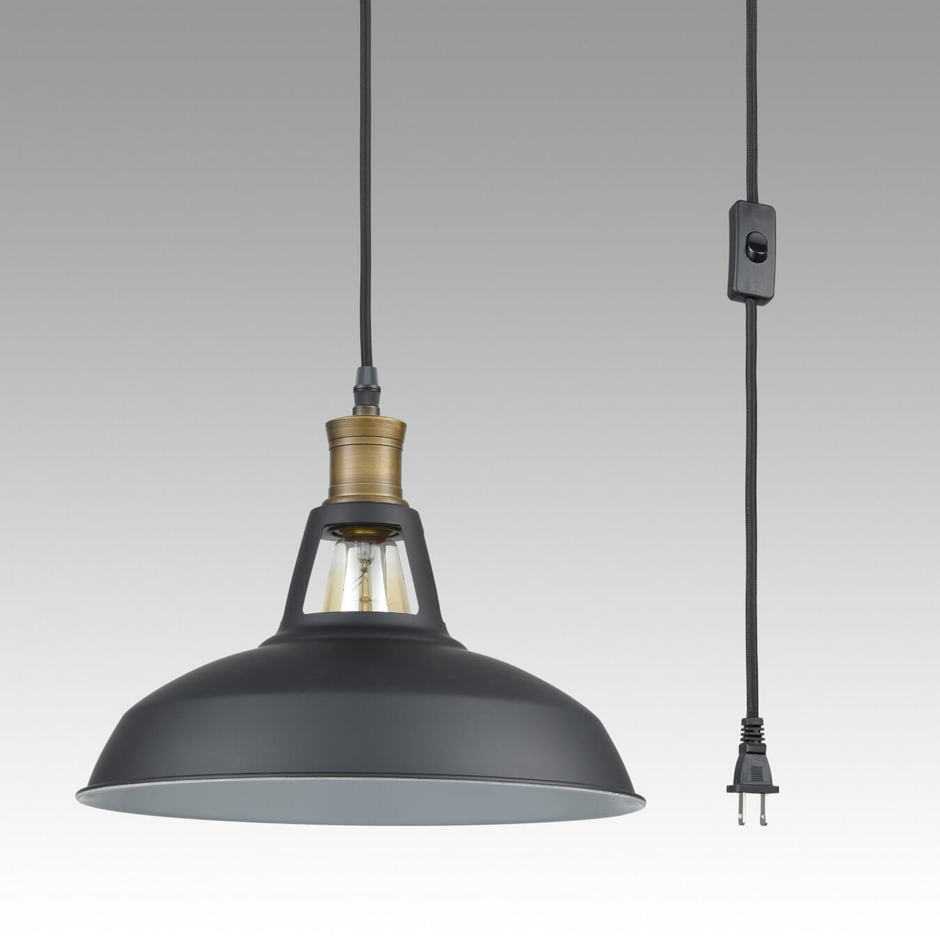 Industrial Plug in Pendant Light Barn Shape with On/Off Switch