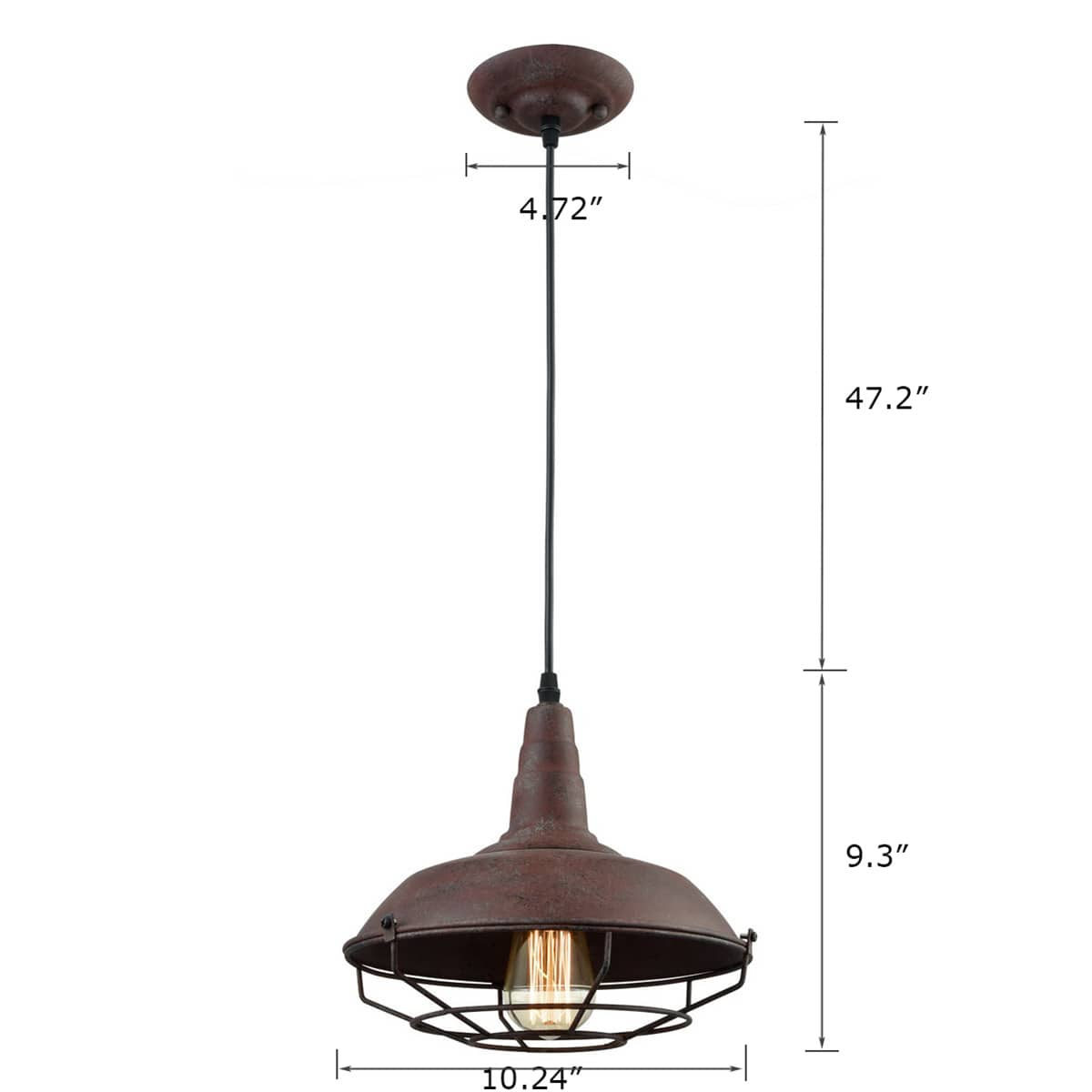 Industrial Farmhouse Metal Cage Pendant Light, Rust