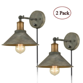 Industrial Swing Arm Hardwired and Plug-in Wall Lights