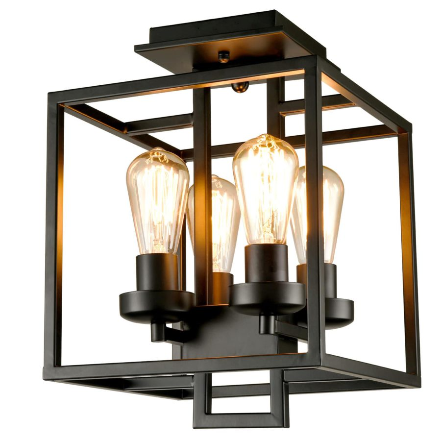 Industrial Semi-Flush Mount Ceiling Light 4-Light Black Metal Lighting