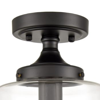 Industrial Semi Flush Mount Ceiling Light Clear Glass Shade