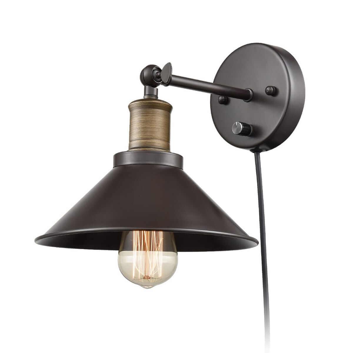 Industrial Bronze Swing Arm Plug-in Wall Lights 1-Light
